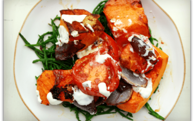 Butternut Squash with Gingerly Tomatoes and Lime Yoghurt