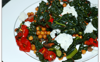 Spicy roasted chickpeas with roasted vegetables and mint yoghurt