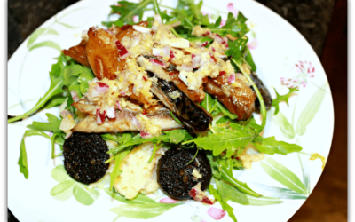 Mackerel and Black Pudding Over Crushed Horseradish Potatoes
