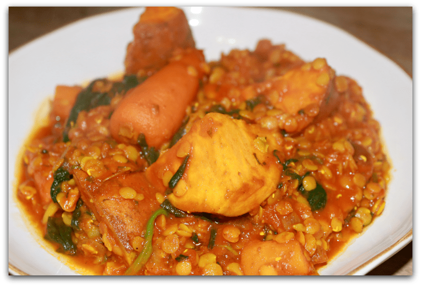 Lentil dhal with sweet potato and spinach