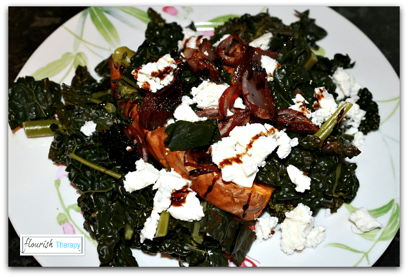 Baked Sweet Potatoes, Red Onions and Feta