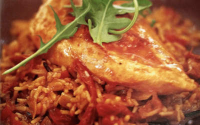 Sun-dried Tomato, Pesto and Chicken Pilaf